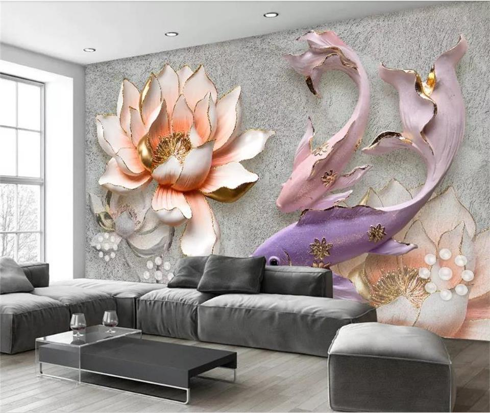 Custom Size 3D Photo Wallpaper Mural Living Room Sofa TV Backdrop Wallpaper Embossed Lotus Fish 3D Picture Wallpaper Home Decor free shipping custom living room tv backdrop entrance bedroom wallpaper mural 3d stereo sofa forest scenery mural