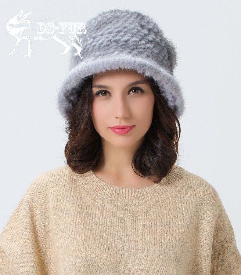 Weave real mink fur hat06
