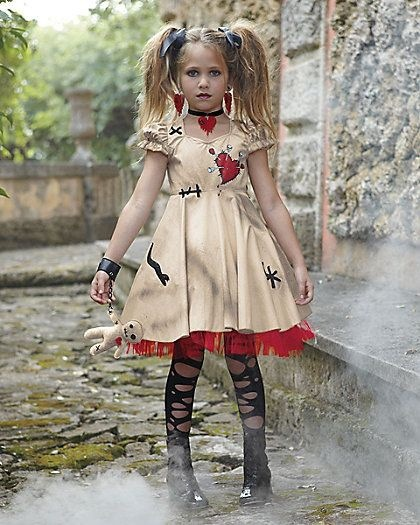 Free Shipping Vampire Cosplay Girls Halloween Costume for Kids Wedding Ghost Bride Flower Girl Witch Costume Voodoo Doll Disfraz