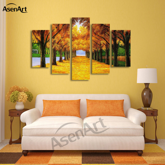 5 Panel Painting Gold Maple Tree Painting Modern Art Picture for ...