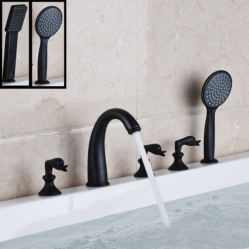 Luxury 5pcs Widespread Bath Mixer Tap with Hand Shower Deck Mount Oil Rubbed Bronze Finished Tub Filler