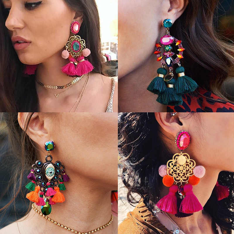 FASHIONSNOOPS Boho Statement Jewelry Long Tassel Big Earring Dangle Drop Crystal Earring For Women Oorbellen