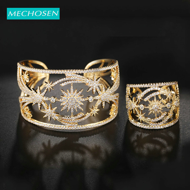 MECHOSEN Luxury Dubai Big Bangle Ring Flower Hollow Out Gold Color AAA Cubic Zircon For Women's Wedding Bride Dress Jewelry Set