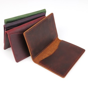 2018 New Arrivals Men Credit ID Card Holders Rustic Crazy Horse Leather Customized Business Unisex Wallet Cardholder Wholesale