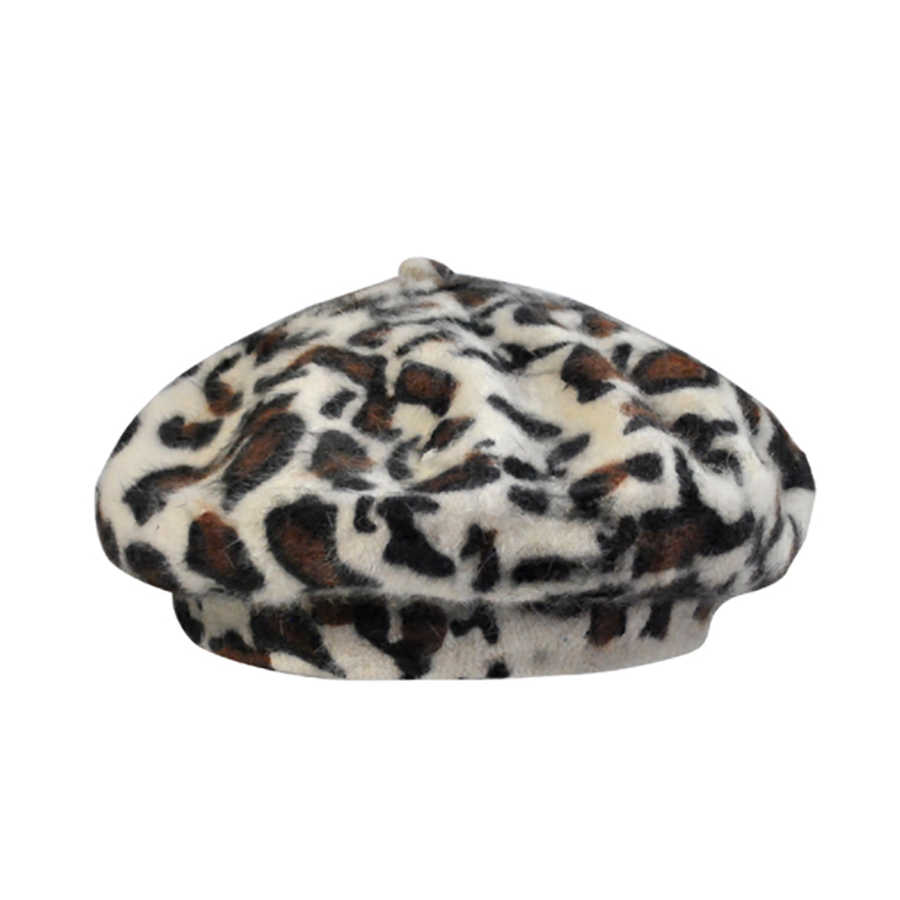 2f4e4d9dd0ef5 ... Elegant Leopard Warm Wool Spring Autumn Winter Beret Women French Artist  Beanie Beret Hat for Women ...