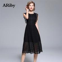 купить Women Dress Black O-Collar Dress 2019 Summer New Office Lady Sleeveless Solid Hollow Out Lace Knee-Length A-Line Dress Plus Size дешево