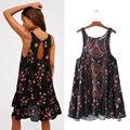 Primavera 2017 de las mujeres de boho dress mangas de la impresión floral dress femme cuello redondo atractivo backless dress moda playa de la gasa dress