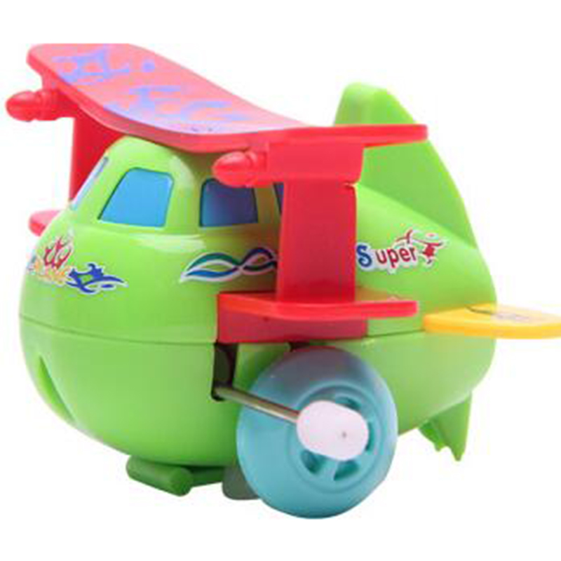 1 Pc Random Colored Plastic Creative Mini Wind Up Skip Airplane Model Gift Friction Toy for Boys Children Birthday Gifts
