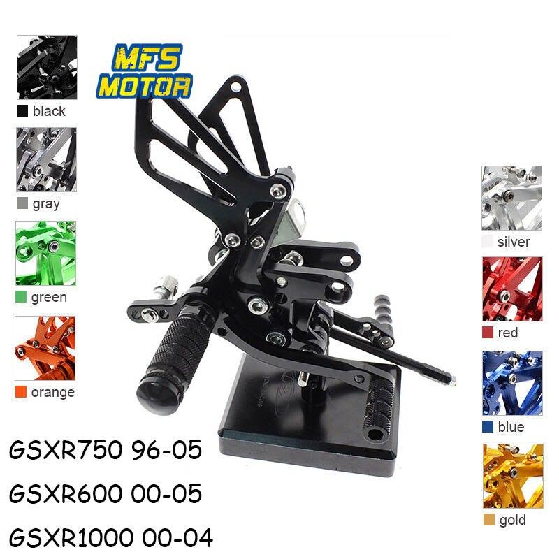 For Suzuki GSXR 600 750 1000 Motorcycle Foot Pegs CNC Adjustable Rearset Foot Rests GSXR600 GSXR750 GSXR1000 Footrests Footpegs