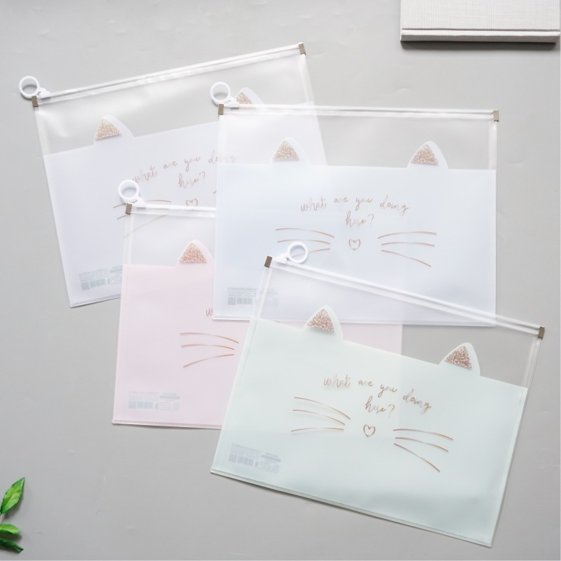 Cat's Moustache Zipper Transparent File Folder Document Filing Bag Stationery Bag