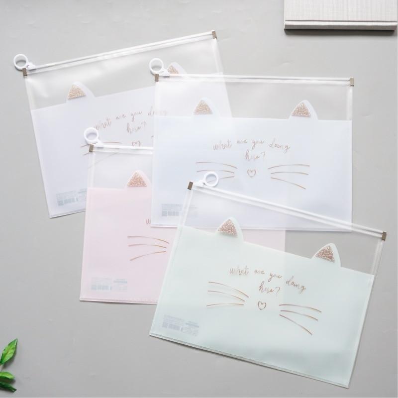 Cat's Moustache Zipper Transparent File Folder Document Filing Bag Stationery Bag