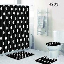 Nueva alfombrilla de baño HomeMiYN, redonda blanca, negra, decoración de baño, alfombrilla de baño antideslizante, 4 uds, 12 ganchos, cortinas de ducha, almohadilla impermeable