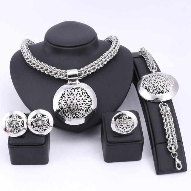 האחרון יוקרה גדול דובאי כסף מצופה תכשיטי סטי אופנה ניגרי חרוזים אפריקאים תלבושות שרשרת צמיד עגיל טבעת