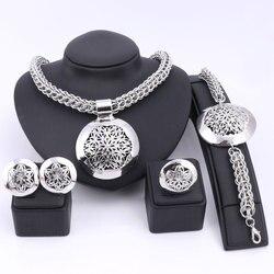 Mais recente luxo grande dubai prata chapeado conjuntos de jóias moda casamento nigeriano africano contas traje colar pulseira brinco anel