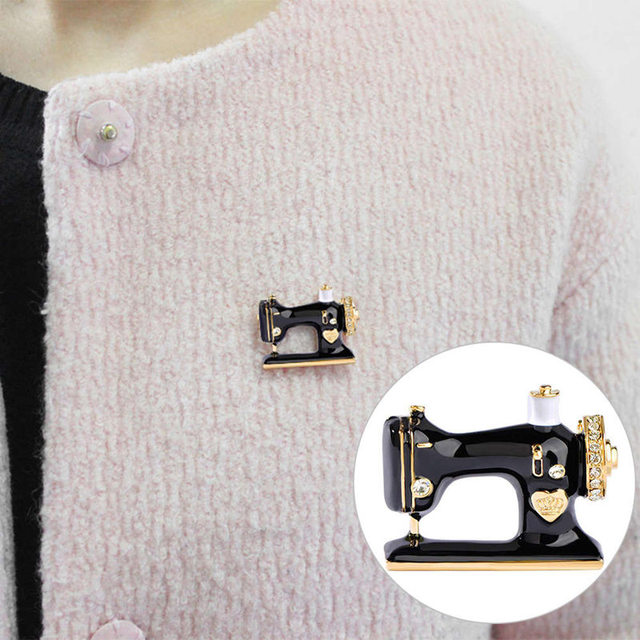US $0 78 |Thimble Needle Thread Seamstress Black Sewing Machine Brooch  Women Pin Brooches Enamel Pins Jacket Pin Badge Gift Jewelry-in Brooches  from