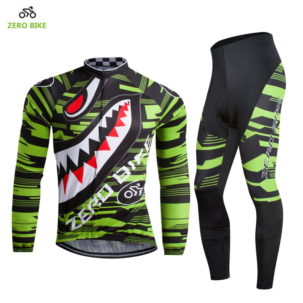 ZERO BIKE 2017New Outdoor Men s Breathable Cycling Jersey set Long Sleeve 3D Gel Pad Bike