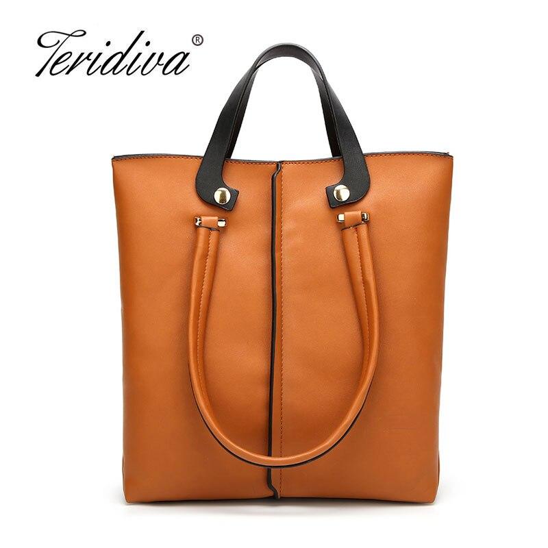 Teridiva 2018 New Metal Top Handle Tote Bag Retro Women Purse And Handbags Vintage OL Business Shoulder Bags For Women Bags