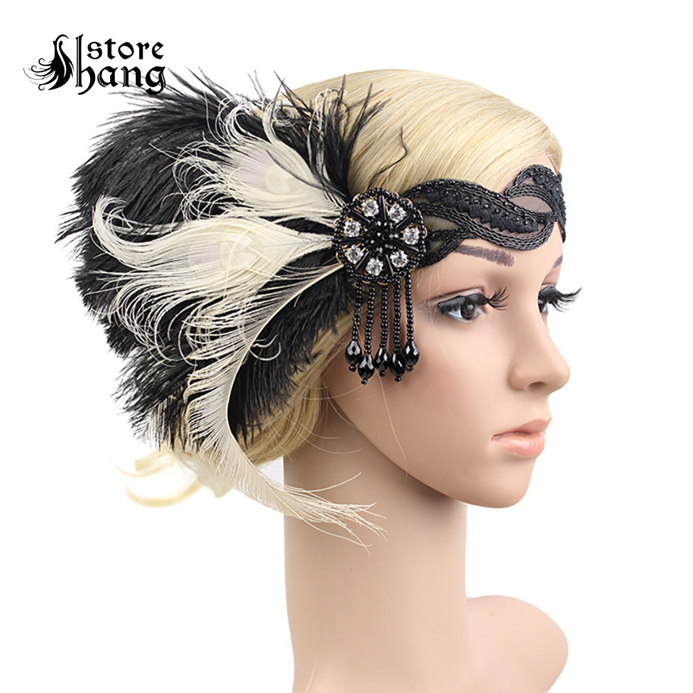 Gatsby Accessories 1920s Flapper Accessories Gatsby Headpiece Black Ostrich Feather Headbands Lace Halloween Vintage Dress Up