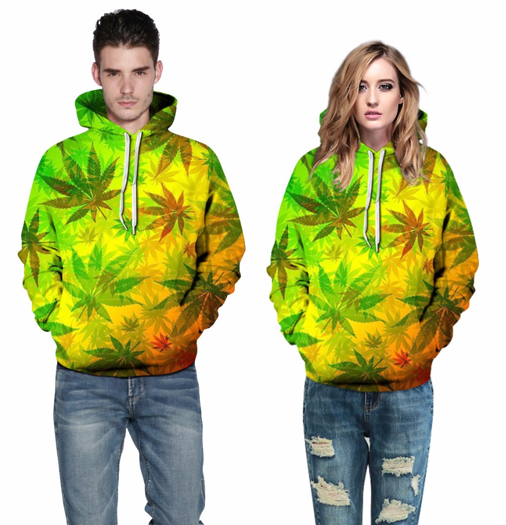 Plus Size Winter Long Sleeve Pullover Hoodies 3XL Men Women 3D Leaves Print With Pockets Hooded Sweatshirt Sudadera Mujer