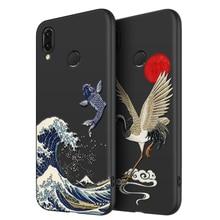 Great Emboss Phone case For Huawei NOVA 3E 3i 3 P20LITE cover Kanagawa Waves Carp Cranes 3D Giant relief