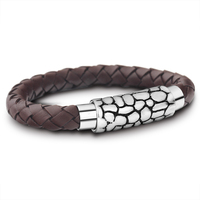 Jewelry Men Vintage Brown Leather Wrap Bracelet Handmade Braided Rope Stainless Steel Magnetic Clasp Bangle