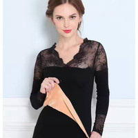 New Spring Women Shirts Skinny Upset Add Wool Full Sleeve Lace V Neck Install Outside Wear