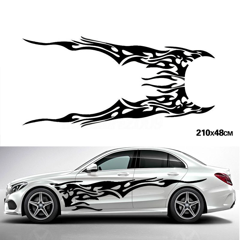 YONGXUN, Universal 2pcs Car Stickers Whole Body Fire Flame Decor Vinyl Decals  for Truck Auto Car Styling Accessories Df9 car body sticker for cars for fiat 500 dynamic grid waist custom car stickers and decals car styling auto accessories 2pcs