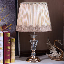 Chinese Style Cloth Crystal Table Lamps Wedding led Crystal Light Living Room Modern Desk lamp Hotel room bedroom bedside light(China)