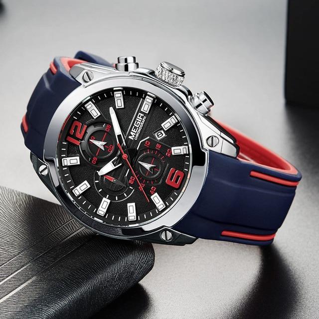 Megir Men's Chronograph Analog Quartz Watch with Date Luminous Hands Waterproof Silicone Rubber Strap Wristswatch for Man