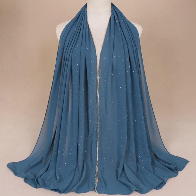 Crystal Glitter Chiffon Scarves Hijab Headband Fashion Scarf Wraps Muslim Shawls Autumn Long Soft Scarves Dropshipping