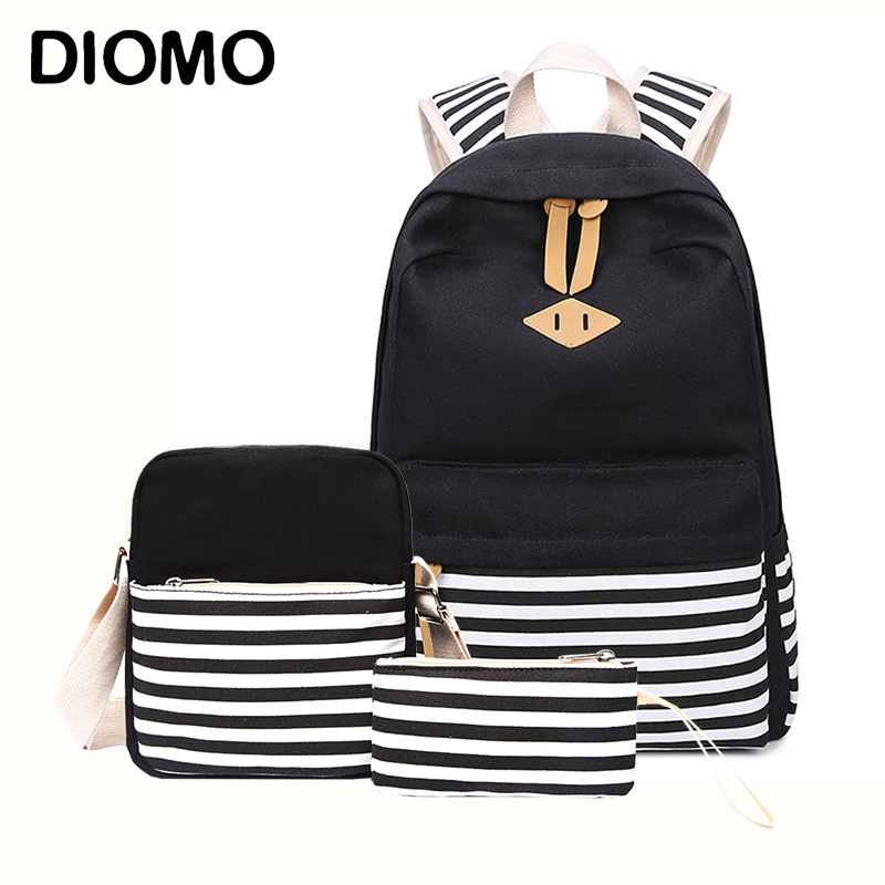 DIOMO School Bag Sets For Girls Women's Canvas Striped Backpack For Teenage Girls High Quality Female Book Bag Kids