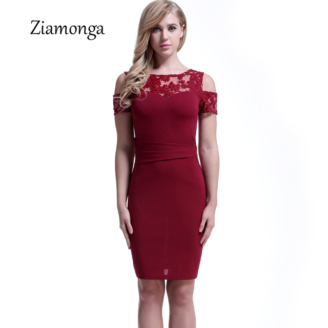 7161cb6134f8 Ziamonga Women Vintage Patchwork Floral Lace Dress Summer Short Sleeve  Elegant Chic Work Office Business Bodycon Pencil Dress