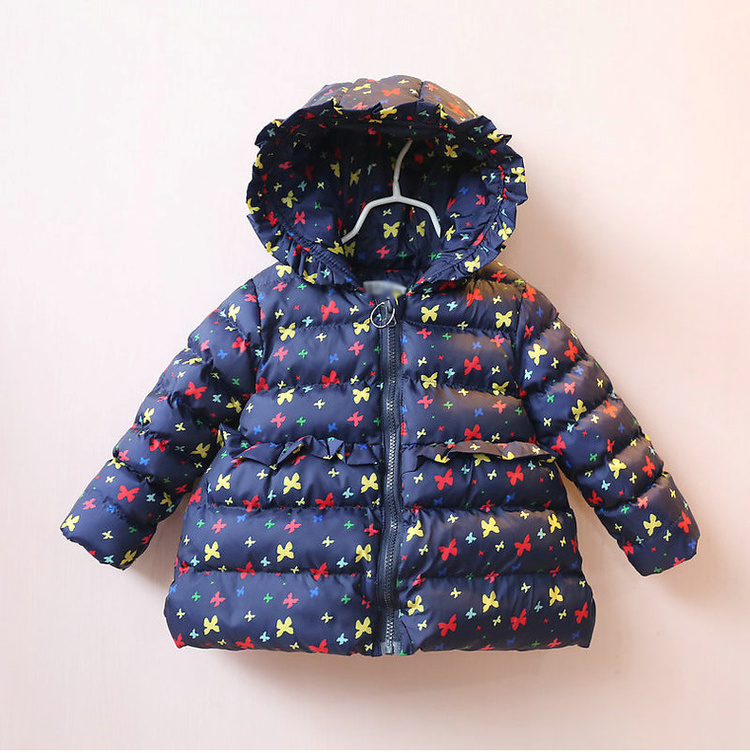 ФОТО new 2016 winter cotton-padded clothes new children's wear cotton coat baby butterfly print children quilted  jacket of the girls
