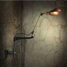 Стиле лофт кулисой эдисон стены бра американский античная медь бра старинные настенные светильники для промышленного освещения