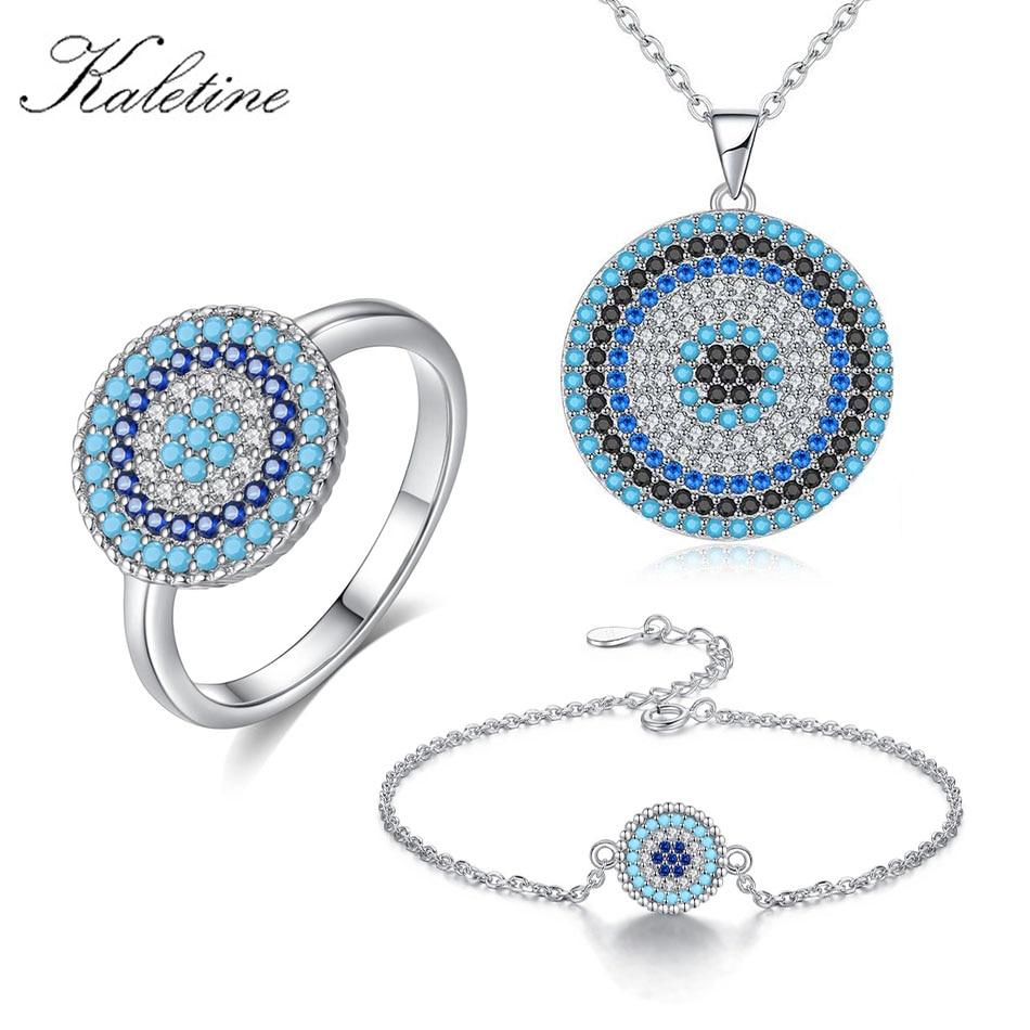 KALETINE Infinity 925 Sterling Silver Evil Eye Necklace Tennis Bracelet Ring Blue CZ Luxury Jewelry Sets For Women Best Gifts