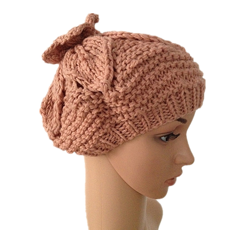 BomHCS Autumn Winter Flower Hat 100% Handmade Knitted Hats Women Warm Cap diy 15 tones hand cranked music box movement with hole puncher and paper tape