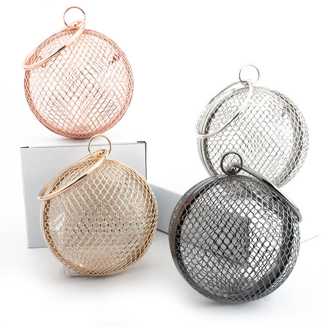 LETODE hollow metal ball women shoulder bag cage round clutch evening bag luxury wedding party travel crossbody purse handbag