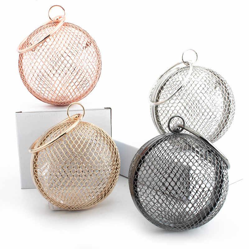 LETODE полый металлический шар для женщин сумка клетка круглый клатч Роскошная вечерняя сумка Свадебная вечеринка crossbody Кошелек Сумочка