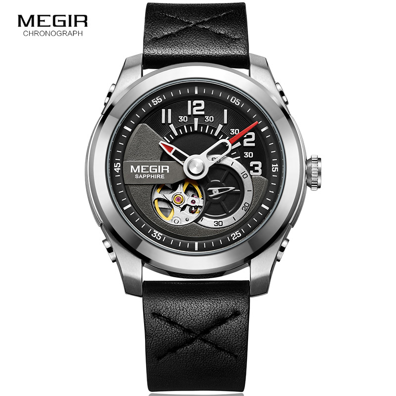 MEGIR Mechanical Watches Fashion Men's Leather Strap Black Analogue Skeleton Wristwatch for Man Waterproof ML62050