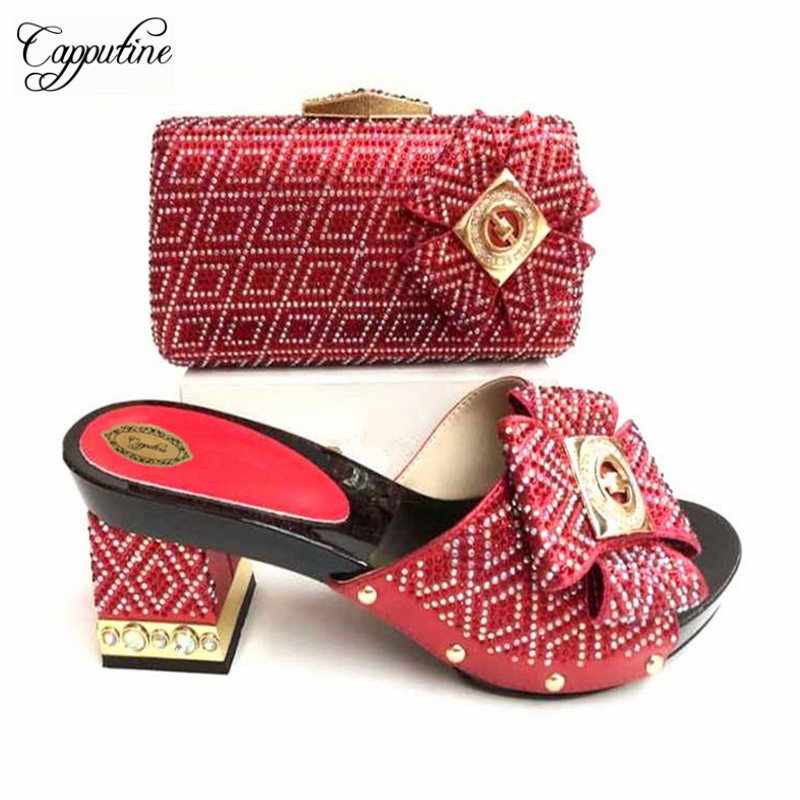 Capputine New African Style PU Leather Pumps Shoes And Matching Bag Set For Party Italian Woman Party Shoes And Bag Set TX-059 capputine summer style africa low heels woman shoes and bag fashion slipper shoes and purse set for party size 38 42 tx 8210