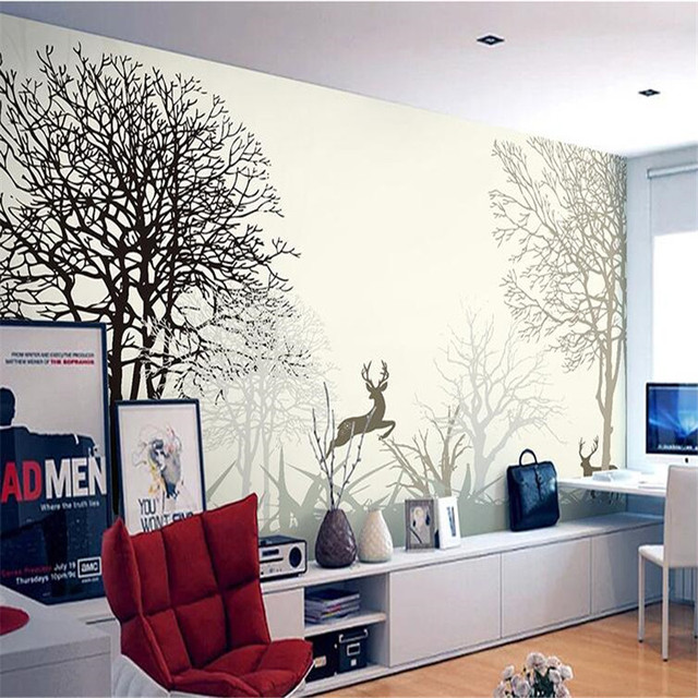 Beibehang Foto Wallpaper Berkualitas Tinggi Lukisan Minimalis Ruang Tamu Tv Latar Belakang R Tidur Beige Rusa