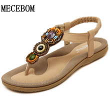 2016 Women Rome Bohemia Flat Sandals String Beading Sweet Women Shoes Open Toe Ankle Strap Women Summer Sandals size 35-41