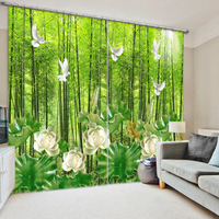 Senisaihon 3D Print Curtains Green Bamboo Forest Scenery Pattern Bedroom Blackout Curtains Polyester Thickened For Living