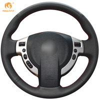 Steering Wheel Cover For Nissan QASHQAI X Trail NV200 Rogue Car Special Hand Stitched Black Genuine