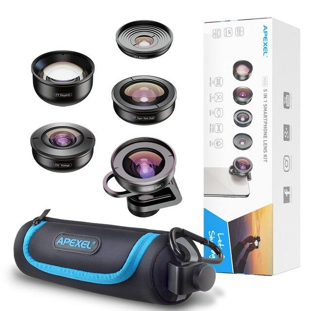 APEXEL 5 in 1 Camera Phone Lens Kit HD 4K Wide Angle Telescope  super Fisheye Macro Phone Lenses for Samsung Xiaomi Huawei 5