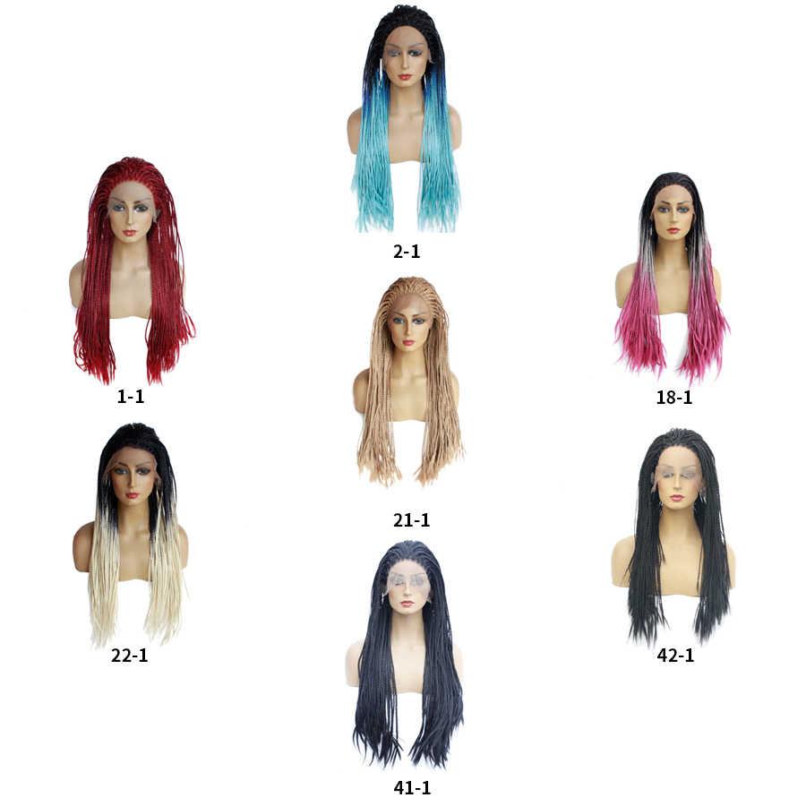 Crochet Kotak Kepang Rambut 24''long Renda Sintetis Depan Wig untuk Wanita Tahan Panas Serat Rambut Premium Ombre Pink Hitam Merah Marun