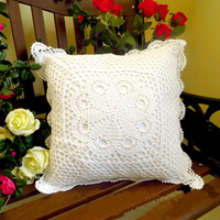 High quality lace yarn hand crocheted knitting pastoral cushion with pillow inner