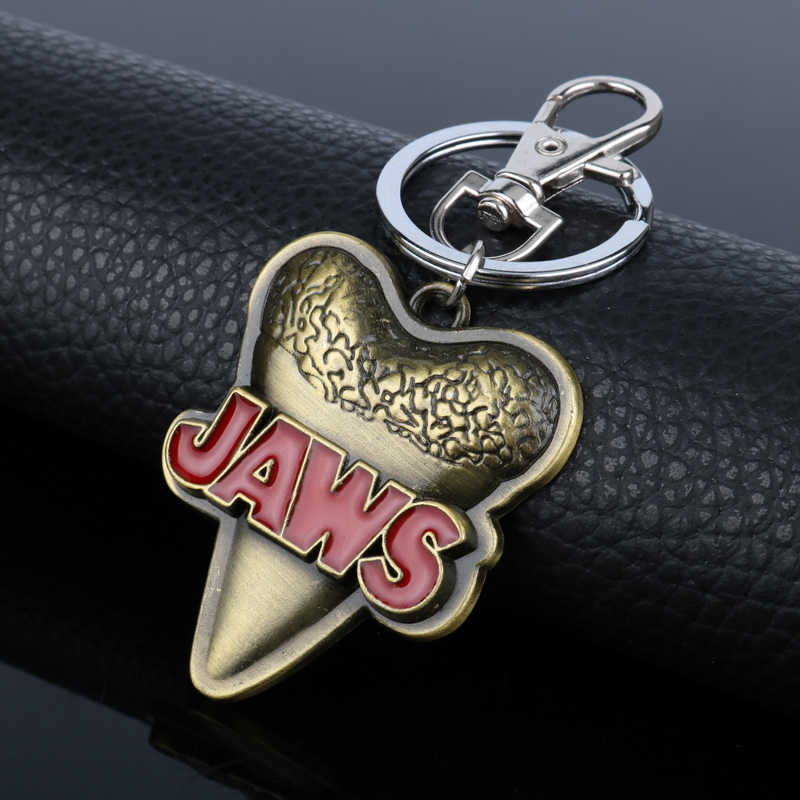 Authentic Universal Studios a Semana do Tubarão Jaws Jaws Passeio Tubarão Dente Pendente Tag Chaveiro Chaveiro Chave Anéis para As Mulheres Homens Jóias-