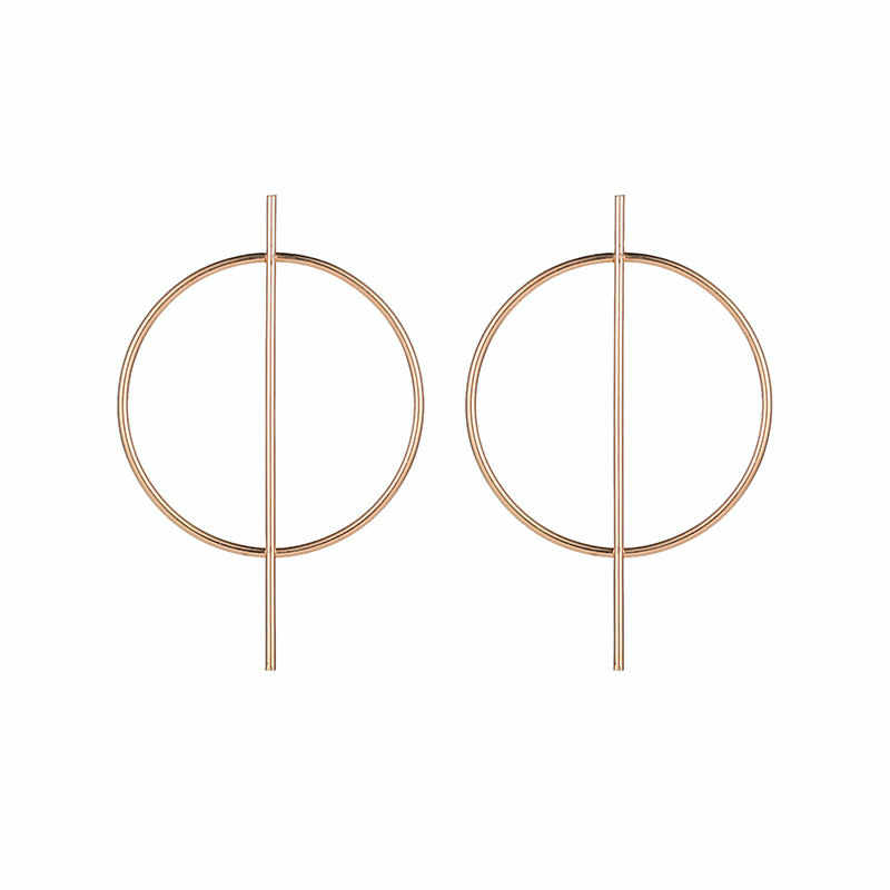 Big Circle Trend Personality Metal Earrings Wild Temperament Ladies Hollow Exaggerated Personality Geometric Earrings