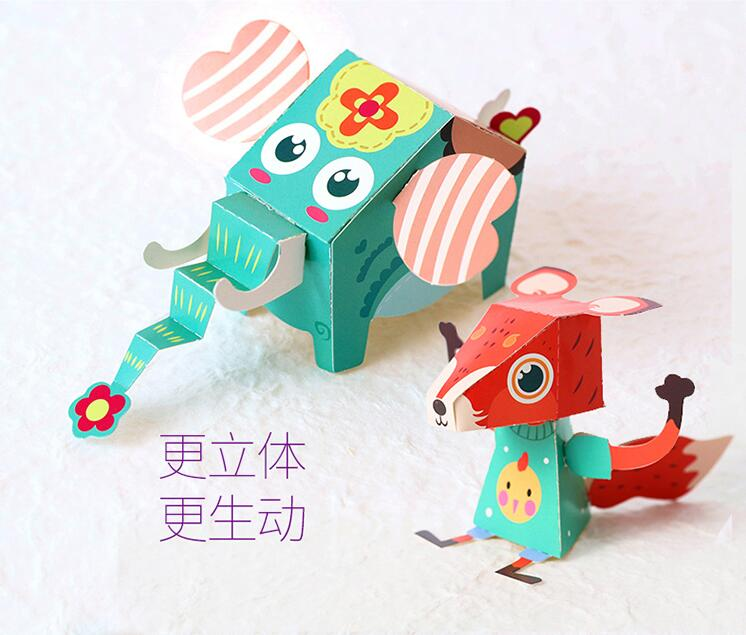 Model Building Kits Model Building Candice Guo 3d Puzzle Toy Paste Model Cartoon Animal Car Train Tree Paper Folding Flexagon Game Scene Play House Baby Gift 1set